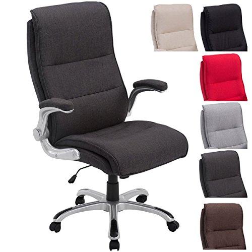 Bürostuhl XXL Villach mit Stoff-Bezug, max. belastbar bis 150 kg, Armlehnen klappbar, höhenverstellbar 45-53 cm, Kunststoff-Gestell, Farbe:dunkelgrau