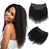 Jiarosi Kinky Curly Clip in Hair Extensions Human Hair, 10Pcs/Set with 24 clips Brazilian Virgin Hair Curly Clip ins Thick and Soft Lace Weft Clip ins for Woman Natural Black(14 inch)