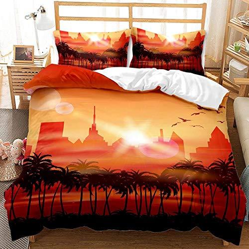 Hermosa Hawaii twin queen king juego de cama para niños juegos de tamaño completo de lujo juego de edredón de cama rosa funda nórdica funda de almohada para dormitorio-BFB17_Reino Unido doble 3 piezas