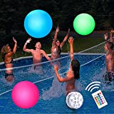Eyewalk Pool Toys 16' LED Beach Ball Toy with 16 Color Changing Lights, Pool Games Beach Party Outdoor Games for Teens Adults Family, Glow in The Dark Party Supplies (1PC)