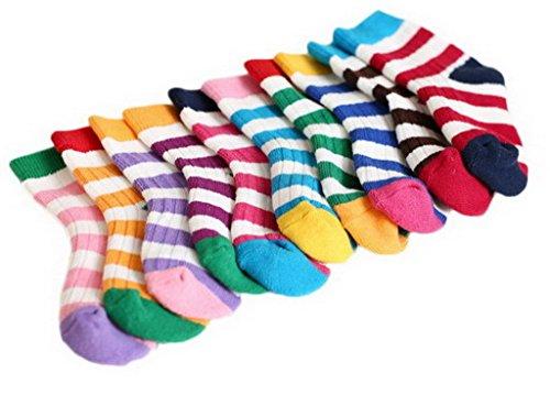 Bigood 5 Paar Streifen Muster Dicker Kinder Baumwolle Socken Mehrfarbig M