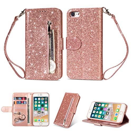Artfeel Reißverschluss Brieftasche Hülle für iPhone 6,iPhone 6S Bling Glitzer Leder Handyhülle mit Kartenhalter,Flip Magnetverschluss Stand Schutzhülle mit Tasche und Handschlaufe-Roségold