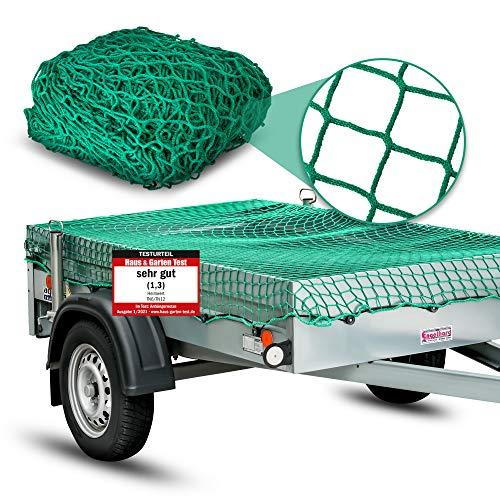 Heimwert Anhängernetz Netz für Anhänger - Extrem VERSTÄRKTES Anhänger Netz mit 12 Befestigungshaken I Ladungssicherungsnetz 3x2 Netz Anhänger 4x3 Ladungssicherung Netz PKW Anhänger Zubehör 2x3 (3x2m)