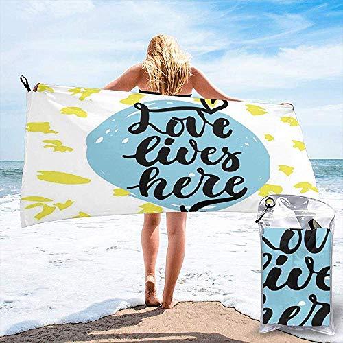 Toalla de Camping de Viaje de Playa de Secado rápido, Letras románticas de Aniversario con Formas de Pastel en Colores Pastel, Toalla de baño Ligera de Secado rápido 160X80 cm
