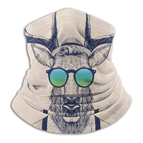 Lawenp Astas Ilustracin de ciervos disfrazados como Cool Hipster Moda Creativa Diversin Animal Art Print Calentador de cuello, a prueba de polvo Bufanda sin costuras Bandana pasamontaas Sombreros