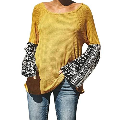 Boyang Damen Pullover Lässig Stilvoll Lose Strickpullover Langarm Elegant Winter Herbst Beiläufige Gestrickte Hohl Pulli Warme Chic Sweatshirts Bluse Blusen (S,Orange