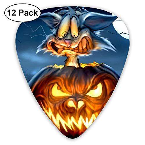 Calabaza Gato negro Luna de Halloween Ultraligero Impreso Redondo Plano Plástico blando Jazz Bajo acústico eléctrico Guitarra Pick Accesorios Paquete de variedad