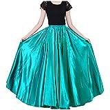 Womens 90cm Green Satin Maxi Midi Skirt Long...