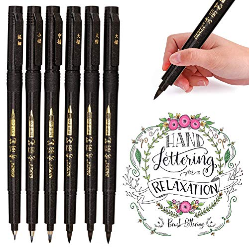 Hand Lettering Pens, Calligraphy Brush Pens Art Markers, Black Ink Refillable - 4 Size(6 Pack) for Beginners Writing, Sketching, Drawing, Cartoon, Watercolor Illustration, Scrapbooking