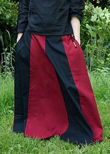 Mittelalterlicher Rock, weit ausgestellt aus schwerer Baumwolle Mittelalter LARP Wikinger Kostüm verschiedene Ausführungen (M, Schwarz/Rot) - 2