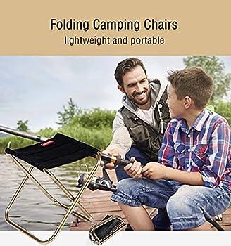 Tabouret Pliant Portable Mini Camping Tabourets Assise Pliant Aluminium Ultra Léger Chaise avec Sac Rangement for Randonnée Voyage PêChe BBQ Pique-Nique Noir