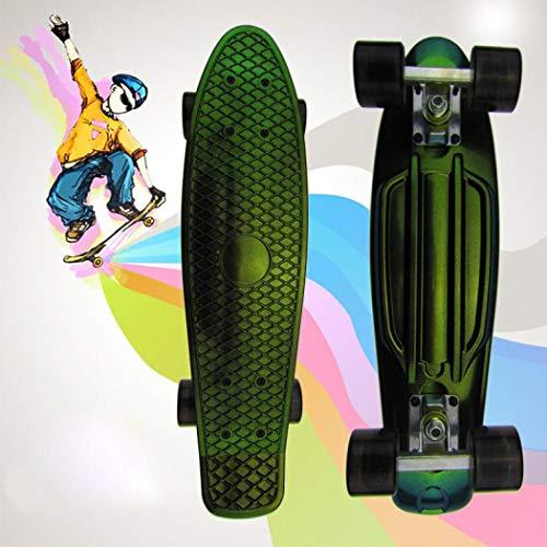 55,9 cm Penny Board komplettes Mini-Skateboard aus Kunststoff für Anfänger Jungen und Mädchen (grün)