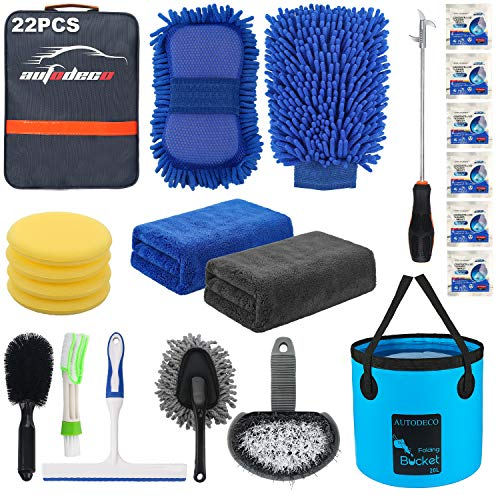 AUTODECO 22Pcs Car Wash Cleaning Tools Kit Set Chenille Microfiber Wash Mitt Sponge Towels Applicator Pads Wheel Brush Window Scraper Duster Tire Clearing Stone Hook Car Care Kit with Folding Bucket
