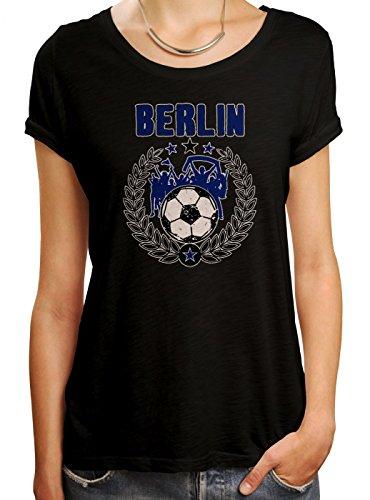 Berlin #3 Premium T-Shirt | Fussball | Fan-Trikot | der 12. Mann | Frauen | Shirt, Farbe:Schwarz (Deep Black L191);Größe:M