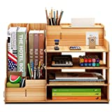 FOCCTS Wooden Desktop Organizer for Office Supplies Storage Shelf Rack - Book Shelf, Stationary Compartment Holder, Mail Holder, and Desk Accessory Storage