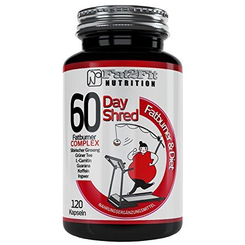 60 Day Shred Fatburner 120 Kapseln von Fat2Fit Nutrition Extrem Stark Hochdosiert