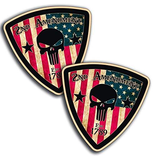 2 pieces SET | Hard Hat Stickers Rustic Shield Skull 2nd Amendment Vinyl Hard Hat Helmet Decal USA Decals President Election