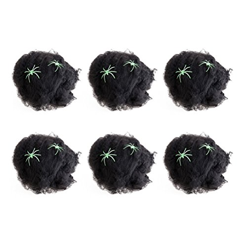BESTOYARD 6 Stück Gruselige Halloween-Spinnennetze Gurtband Spukhaus, Dekoration Requisite mit 2 Spinnen (schwarz)