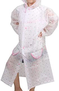 LUKEEXIN Cute Translucent Blue Dot Raincoat Men and Women Baby Children Lightweight Breathable Poncho (Color : Clear, Size : M)