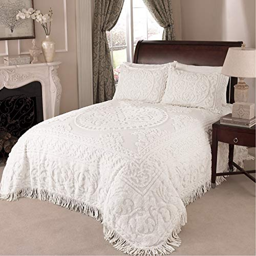 Beatrice Home Fashions Medallion Chenille Bedspread, Queen, White