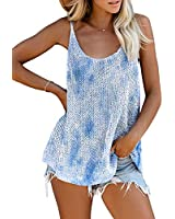 BLENCOT Womens Ladies Sexy Scoop Neck Strappy Tie Dye Tank Tops Casual Loose Sleeveless Cami Blouse Shirts Work Blue L