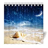 YISUMEI Hem Gewichte Vorhang Duschvorhang Mode Duschvorhänge 180x200 cm Seestern Strand Muscheln Galaxy Sterne Mond