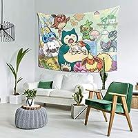 ウォールアート 布ポスター カーテン 壁飾 タペストリー カビゴン ポケモン(1) 壁掛け おしゃれ 室内装飾タペストリー 多機能 カーテン タペストリーピクニックテーブルカバーと カバー