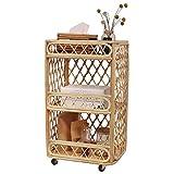 Carro de la compra Madera de 3 niveles de madera para dormitorio, bastidores de almacenamiento móviles a mano, estantería multifunción con ruedas, baño Artículo Organizador Almacenamiento Trolley Caja