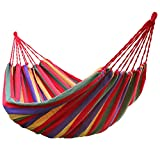 Futurekart Fabric Hammock for Outdoor Activities & Beach Travel 110.2 * 31.4 inches (Stripe Red)