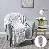 MP2 Heated Plush Sherpa Throw - Electric Blanket for Lap w/ 3 Heating Levels & 2 Hours Auto Shut Off, UL Certified Safety Standard, Machine Washable - 50'x 60', Marble Blue