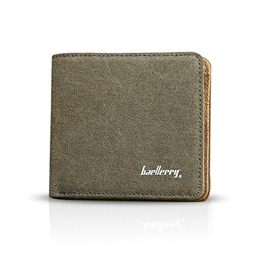 FANDARE Brieftasche Herren Bifold Geldklammer Kreditkartenetui Kartenhalter Portmonee Geldbörse mit Geldspange Geldbörsen Segeltuch Grün