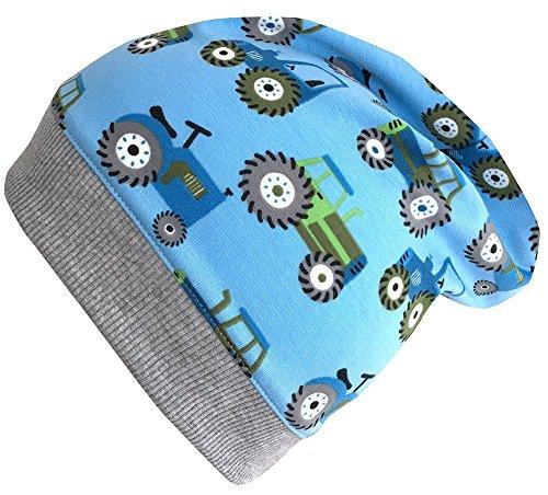 Wollhuhn Leichte Beanie-Mütze TRECKER/Traktor in hellblau mit grauem Bündchen, für Jungen und Mädchen, 20170813, Größe M: KU 51/53 (ca 3-5 Jahre)