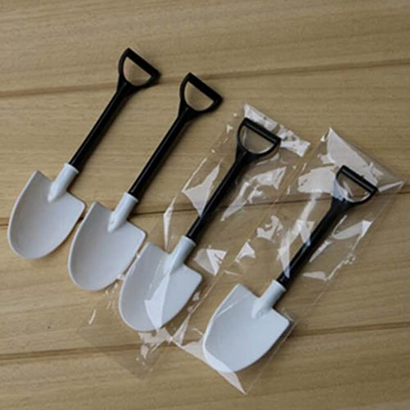 100pcs Disposable Potted Ice Sream Scoop Shovel Small Potted Flower Pot Spoon Black And White