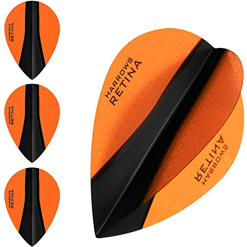 HARROWS retina-x Dart Flights – 5 sets (15) – 100 micron Extra Stark – Pear – Orange