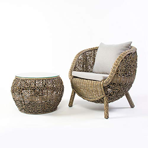 Gartensitz Natürliches rohes Rattan Sitzgruppe, Rattan Kleiner Tisch Ei-Form Stuhl, wetterfest,Brown