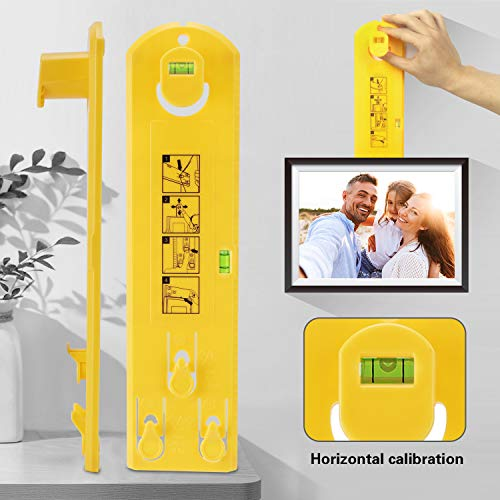 Picture Frame Hanging Kit, Portable Picture Frame Tool Hanger Hardware, Multifunction Picture Frame Hanger Tool Ruler Bubble Level Measuring Tool Suitable for All Wall Materials