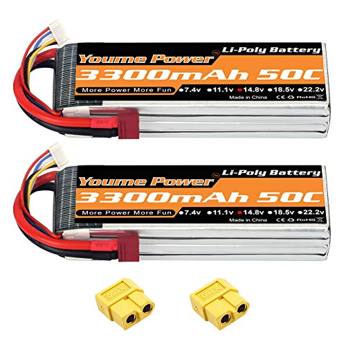 Youme 14.8V 4S Lipo Battery Pack,RC Battery 3300mAh 50C with Deans T and XT60 Plug Connector for RC Helicopter,RC Car,Multirotor, RC Drone,RC Boat,RC Truck(2packs)