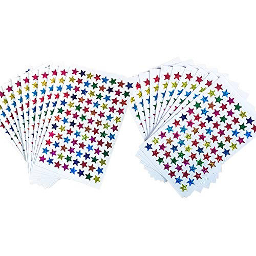 Pack of 1730pcs 1cm&1.2cm Self Adhesive Assorted Colors Laser Shiny Sparkle Star Stickers Kids Students Rewards Teachers Supplies