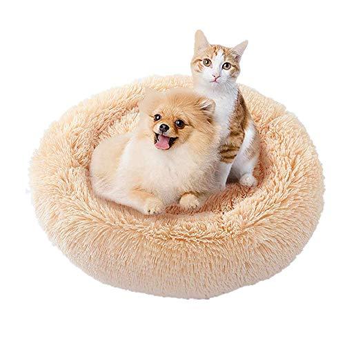hjxvcsdh Haustierbett Rundenfür Katzen und kleine bis mittelgroße Hunde,Katzenbett Schöne Tierbett,Leicht zu reinigen,Bett für Haustiere in Doughnut-Form,Hund Bett Haustierbett Plüsch Weich