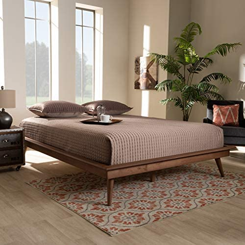 Baxton Studio Karine Mid Century Modern Walnut Brown Finished Wood King Size Platform Bed Frame product image