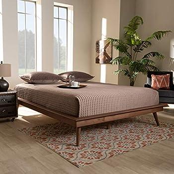 Baxton Studio Karine Mid-Century Modern Walnut Brown Finished Wood Queen Size Platform Bed Frame