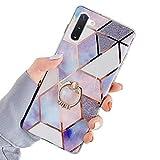 JAWSEU Compatible avec Samsung Galaxy Note 10 Coque Marbre Motif avec Support de Bague Placage Silicone TPU Souple Étui Housse de...