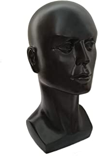 Mannequin Head Male Face Model Display Stand for Wigs Hat Glasses Mask Headphone (Black)