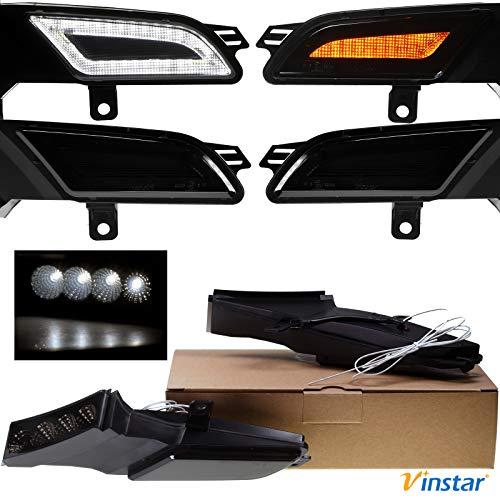 Vinstar Smoke getönte Seiten Blinker DRL Tagfahrlicht LED kompatibel mit Porsche Cayenne 955 Facelift 2007-2010