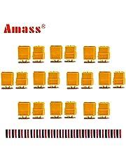 AMASS 10 par XT60 XT-60 hane hona rundkontakt med 20 par krympslang för RC LiPo-batteri
