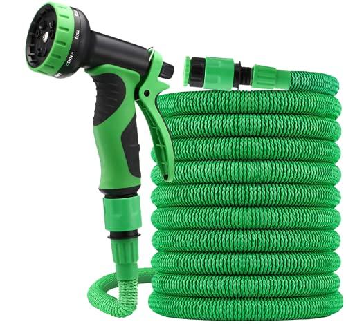 Wagtail - Manguera extensible para jardín con boquilla de 9 modos de pulverización 7.5m, Manguera de agua elástica de alta presión con pistola de riego (7,5 Metros)