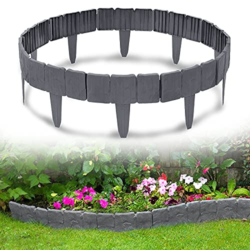 YRHome 2,5m Rasenkante in Steinoptik Anthrazit 10 Stücke Beetumrandung Mähkante Gartenzaun Kunststoff 1 Element (L x H): 25cm x 23cm