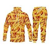 Halaea Uomo Donne Chips Casual Tracksuit French Patatine Fritte Streetwear Felpa e Pantaloni 3D Giallo Zip con Cappuccio Boxie Boxies Coppia Coppia MHPA02765 M
