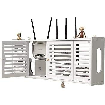 marr/ón ALANG Gran Caja de Almacenamiento de enrutador WiFi inal/ámbrico Panel de PVC Estante Colgante de Pared Enchufe Junta Soporte Cable Organizador de Almacenamiento Decoraci/ón del hogar