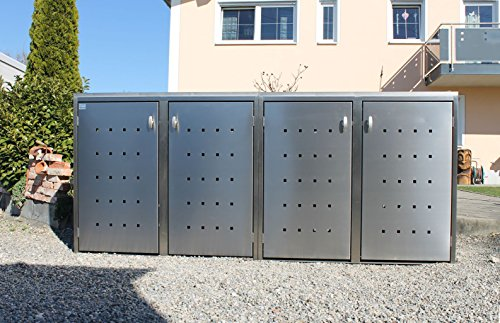 Resorti Mülltonnenbox Edelstahl Basic Kombi 4er 120 / 240 Liter Mülltonnenboxen Mülltonnenhaus Mülltonnenumhausung